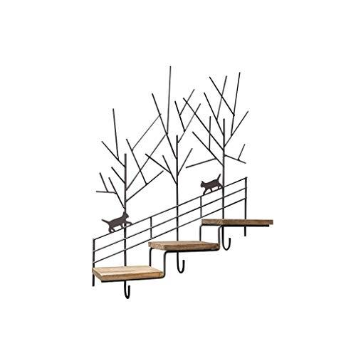 Eeayyygch mensola a muro in bianco e nero retro in ferro battuto legno vecchio a tre strati cremagliere creative staircase storage rack flower stand (colore : -, dimensione : -)