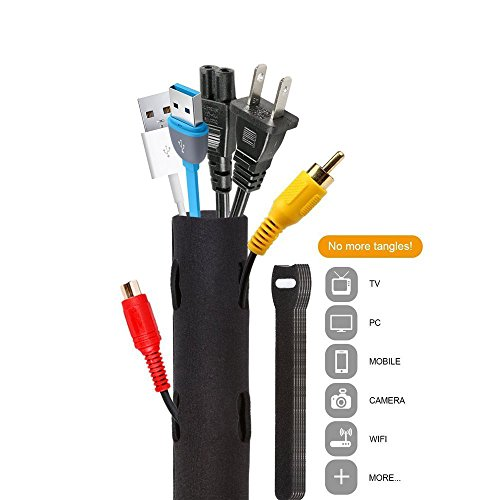 Kabelmanagement,Blusmart Neoprene Flexible Kabelschlauch Klettverschluss für TV/Computer/Home Entertainment 130cm 50 Zoll Wiederverwendbare Klettverschluss Kabelbinder Schwarz