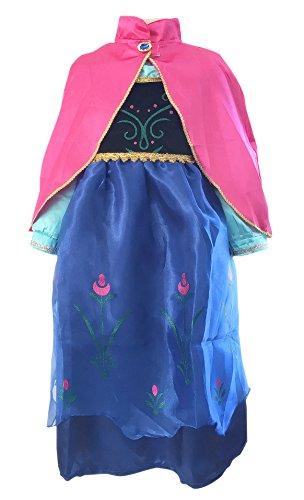 Frozen Fever Kostüm Anna - La Senorita - Anna Frozen Kostüm Prinzessinnen kleid + Gratis Frozen Kette (Größe 2-3 Jahre - 92-98 (XS))