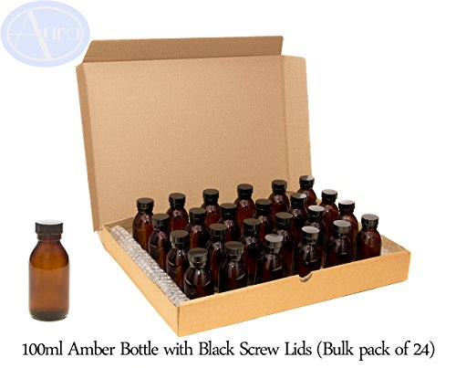 Bottiglie 100ml in vetro ambrato con tappo nero - Confezione
