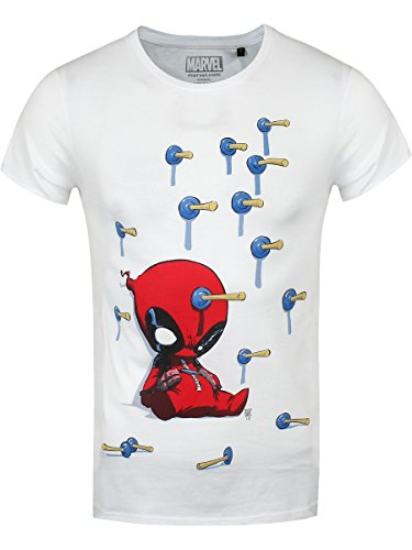 Marvel t-shirt Deadpool Baby Arrows da uomo in bianco
