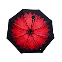 aixingwuzi New Released Double Reverse Umbrella Skillet Sunny Umbrella Straight Outdoor Car Anti-parachute for Home Decoration(None Rouge)