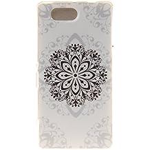 Qiaogle Teléfono Caso - Funda de TPU silicona Carcasa Case Cover para Sony Xperia Z3 Compact / Z3 mini (4.6 Pulgadas) - TX40 / Negro Flor
