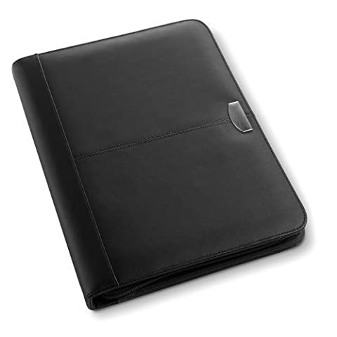 eBuyGB Black Leather A4 Zipped Conference Folder - Meetings Business Work (Black)