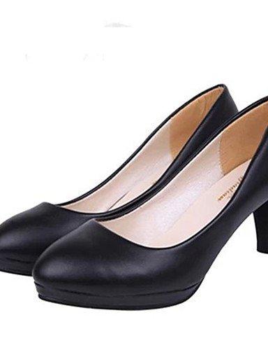 GS~LY Da donna-Tacchi-Casual-Tacchi-A stiletto-Vernice-Nero / Bianco / Tessuto almond black-us7.5 / eu38 / uk5.5 / cn38
