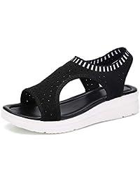 ba71d850 Luckycat Sandalias Mujer Verano, Mujeres Zapatos al Aire Libre Plataforma  Sandalias cuñas de Tacones Altos Sandalias Hebilla Zapatos de…