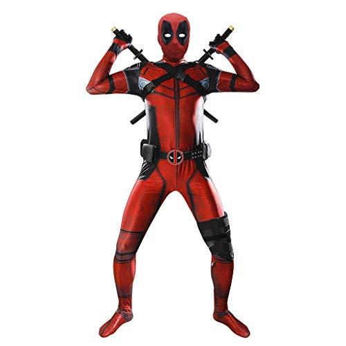 Yujingc Marvel Deadpool Kostüm Erwachsene Kinder Halloween Kostüm Bodysuit Spandex Jumpsuits Cosplay voller Satz von Kleidung mit Gurt-Bügel,Red,XXL