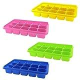 Eiswürfelschalen mit Deckel von Kurzty - 4 farbenfrohe Silikon Eiswürfelform für 15 Eiswürfel
