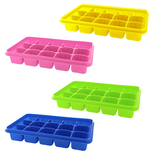 4 Pack Silicone Ice Cube Trays with Clear Lids by Kurtzy - Covered Ice Cube Tray Set with 60 Ice Cubes Molds - Flexible Rubber BPA Free Plastic Stackable No Spill Ice Cube Mold Storage Containers