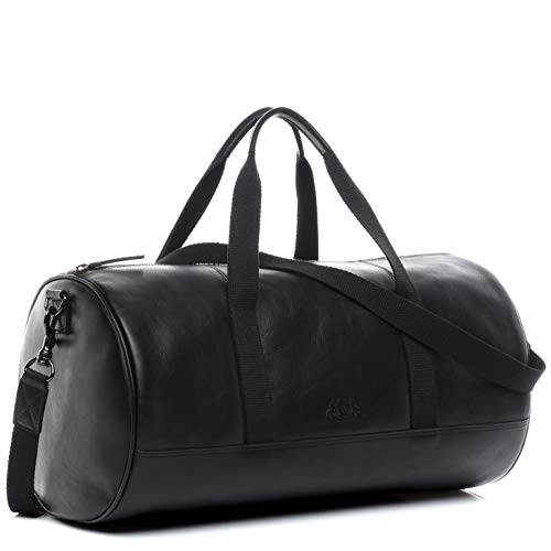 SID & VAIN Sporttasche echt Leder Finlay Reisetasche Weekender Ledertasche 46 cm schwarz -