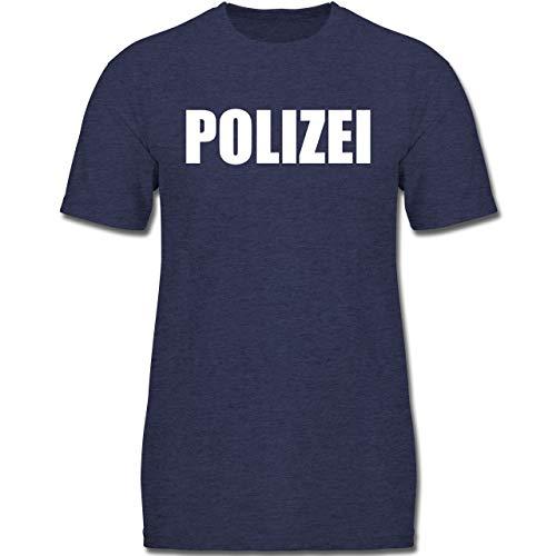 Gruppe Arbeit Für Kostüm - Karneval & Fasching Kinder - Polizei Karneval Kostüm - 128 (7-8 Jahre) - Dunkelblau Meliert - F130K - Jungen Kinder T-Shirt