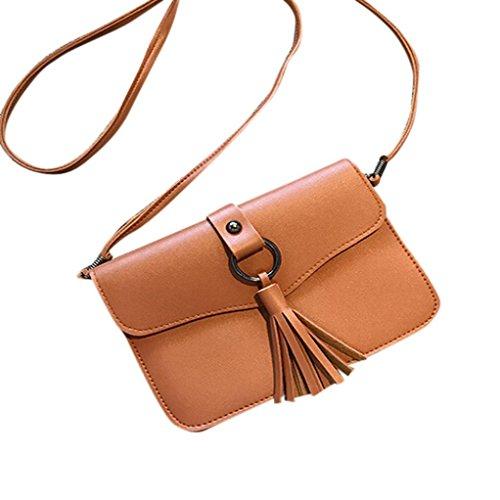 Familizo Sacchetto del messaggero della borsa della borsa della borsa della spalla della nappa della nappa della borsa delle donne Marrone