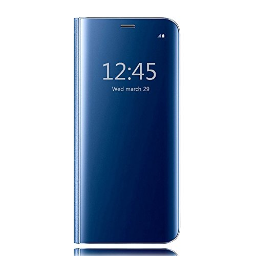 Galaxy s6 edge clear view standing cover, hichili lusso elegante glitter smart flip ultra slim view electroplated specchio rigida trasparente per custodia per samsung galaxy s6 edge, custodia per galaxy s6 edge, portafoglio custodia per galaxy s6 edge, blu