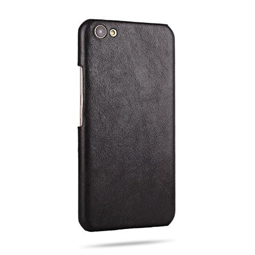 EKINHUI Case Cover Retro Frosted Echtes Leder Hard Back Cover Luxus Holster Case Drop Schutz [Shockproof] Shell Cover für OPPO X9s Plus ( Color : Black ) Black