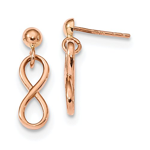 Lex & Lu Pendientes colgantes de oro rosa de 14 quilates pulidos infinitos