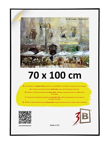 3-B Bilderrahmen: Poster - Posterrahmen mit Polyesterglas und Einzelverpackung - Schwarz - 70x100 cm (B1)