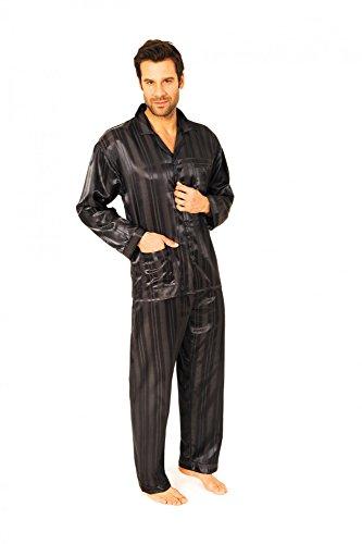 Normann Copenhagen Satin Pyjama lang, durchgeknöpft, Schattenstreifen, 251 101 94 010, Größe2:50, Farbe:anthrazit