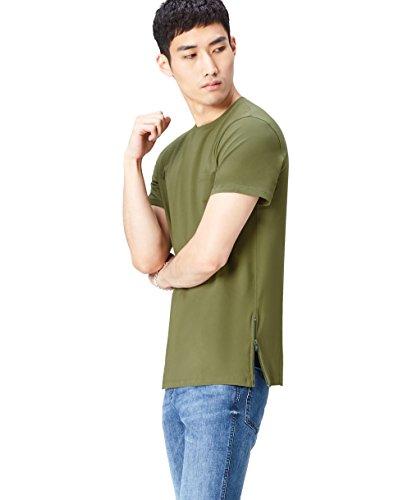 FIND T-Shirt Herren Reißverschluss-Detail Lockere Passform Grün (Khaki)