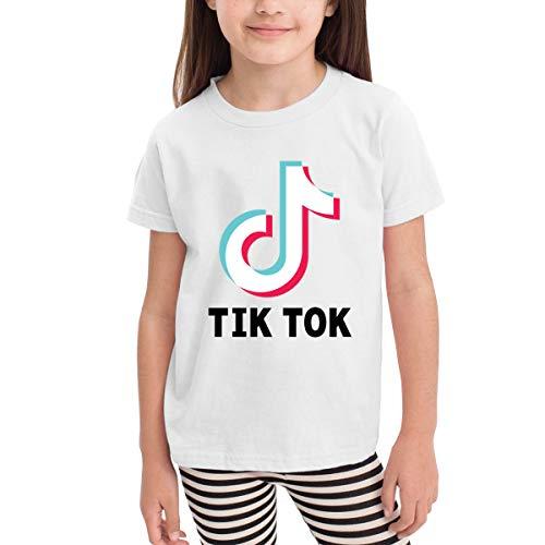 en Sommer T-Shirt Tik Tok Logo T-Shirt Kleinkind Freizeithemden Kurzarm Rundhals Baumwolle Tops Weiß ()