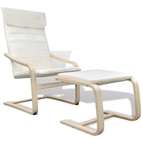 mewmewcat Schwingsessel Freischwinger Schaukelstuhl Relaxstuhl Sessel mit Fußhocker aus Birkenholz Belastbarkeit 90 kg Creme