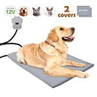 BACKTURE Pet Heating Pad, 12V Electric Heated Pad for Pets Waterproof Anti Chew Cord Warming Beds Pet Mat Pressure Activated with 135 °F Soft Removable Soft Cover (Large(65 * 40 cm))