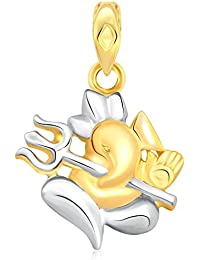 Classic Ganesha With Trishul Gold And Rhodium Plated Pendant - [CJ1007PG]