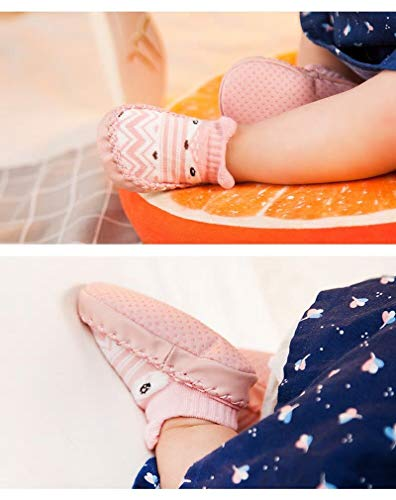 Bold N Elegant Baby Girl Boy Socks with Rubber Sole Infant Newborn Kids Floor Socks Shoes Anti Slip Soft Sole Socks Bootie (6-12 Month (12 cm), Baby Pink)