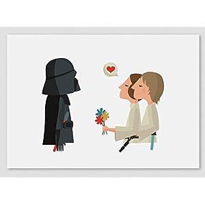Herzlichen Glückwunsch papa! Star Wars- Darth Vader & Luke & Leia (Kunstdrucke A4/ A3)