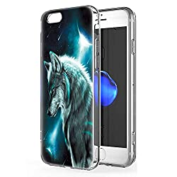 Pnakqil Hülle kompatibel mit iPhone 6s Plus / 6 Plus Phone, Silikon Schutzhülle TPU Clear Transparent Kratzfest UltraDünn Stoßfest Muster Handyhülle für iPhone 6s Plus / 6 Plus,Wolf 02