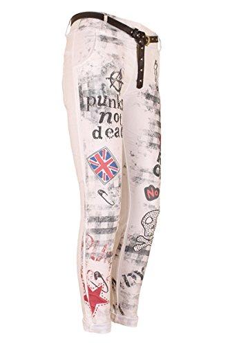AD Chino Hose Freizeithose Boyfriend Baggy Hose Punk Style Strass & Print Lederlook Gürtel Weiß