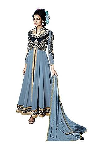 Da Facioun Indian Women Designer Party wear Off Blue Anarkali Salwar Kameez R-16902