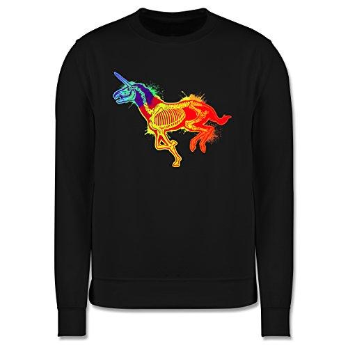 Comic Shirts - Einhorn Skelett - Herren Premium Pullover Schwarz