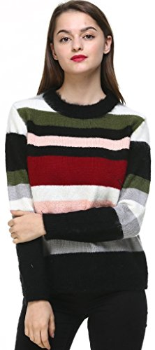 Vogueearth Fashion Femmes Ladies Round Neck Rainbow Stripe Knit Jumper Warm Sweater Chandail Tricots Pullover Top Multicolore-1