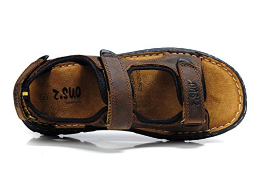 Insun Homme Sandales Cuir Crazy Horse Normal Plat Velcro Sandales de marche Bout Ouvert Mules Chaussures Marron