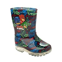 Boys Disney PJ Masks Wellies with Flashing Lights RAIN Boots Wellys UK Size 5-12