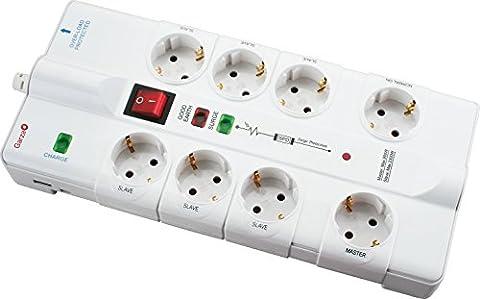 Garza 420009 Steckdosenleiste mit 8 Steckdosen, Master Slave, mit Schalter, USB-Port, Netzwerk- und TV-Anschluss, 1,4 m,