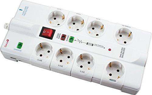 Garza 420009–Ciabatta con 8prese, Master Slave, con interruttore, porta USB, collegamento di rete e TV, 1,4m, bianco