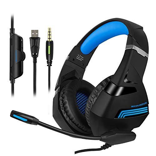 Micolindun A2-A Game-Kopfhörer sind geeignet für PS4, PC, Xbox One Controller, mit Mikrofon-Schalldämpfer, Lautstärkeregler, 7.1 Stereo Surround, Laptop Mac, Nintendo Switch, Schwarz/Blau