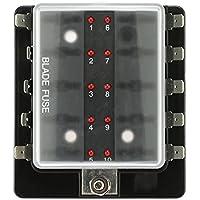 KKmoon Caja de Fusibles 10 Vías Portafusibles con Lámpara de Alerta LED Kit para Coche Barco Marino Triciclo 12V 24V