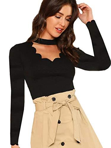 DIDK Damen Bluse Shirts Langarm Choker-Kragen mit Halsband Muschel Cut Outs T-Shirt Tops Oberteil Schwarz M