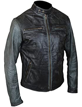 F&H Men's Genuine Cowhide Leather Daddy's Home Mark Wahlberg Cafe Racer Jacket