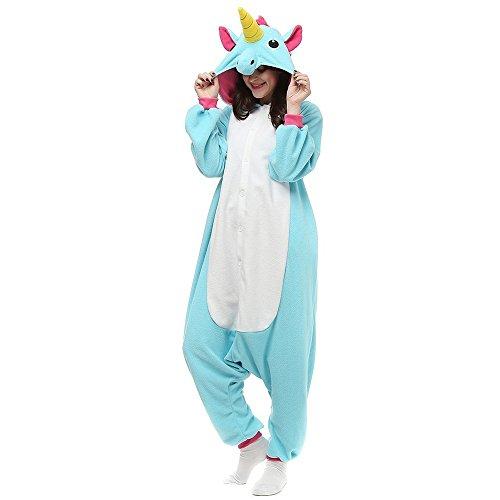 Overall Cartoon Einhorn Pyjamas Tier Nachtwäsche Cosplay Overall Kostüm Schlafsack für Erwachsene (S, Blau)