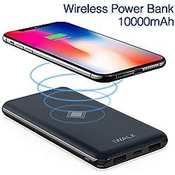 iWalk Qi Chargeur sans Fil Batterie Externe 10000mAh de Secours Chargeur Portable Intelligent Power Bank avec PD QC Output pour iPhone X/8/8 Plus,Samsung Galaxy S9/S8/S7/S6 Edge+/Note8 etc