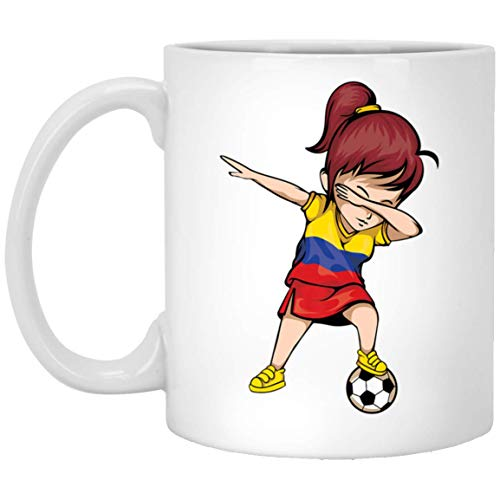 7858b02092b Dabbing Soccer Girl Colombia Jersey Colombian Football 11 oz. White Mug