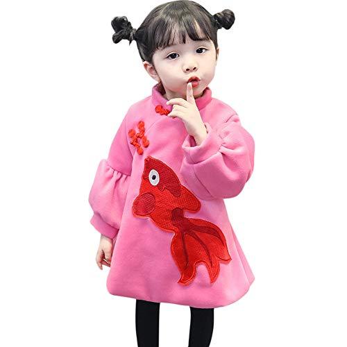 i-uend 2019 Baby Cheongsam Mantel, Cartoon Goldfish Print Mantel warme Wollstoff Oberbekleidung Kleid für 1-3 Jahre