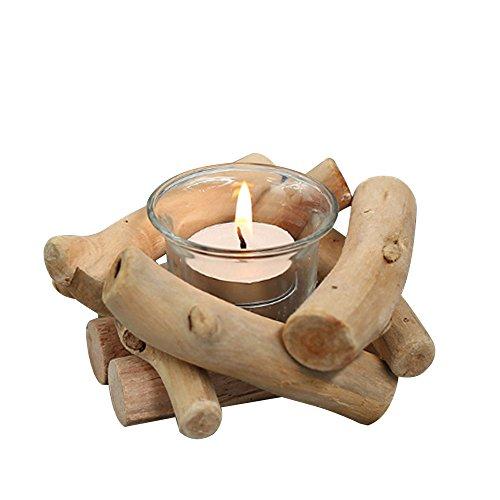 Tabelle Kandelaber (TOPmountain Hölzerner Kerzenständer, Tabelle Kerzenlicht-Kandelaber-Weinlese-natürlicher Baumastkerzenhalter mit Glasschale u. Kerze)