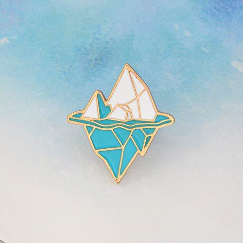 Obeysas - Weihnachtscartoon Antarktis Eisberg Brosche Metall Emaille Blau Weiß Schnee-Berg-Knopf Jacke Rucksack Pin-Symbol Abzeichen Schmuck ()