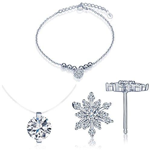 Yumilok Bijoux ensemble pour femme fille collier diamant en fil nylon transparent et bracelet et clou d'oreille en argent 925 orné zircon brillant
