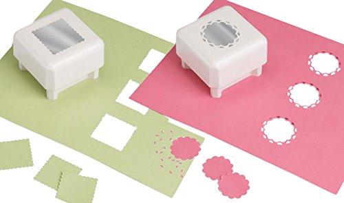Martha Stewart e la Rosa Disegno Finestra Quadrata con Angoli arrotondati Mestieri Pugni Attraverso la Superficie, Bianco