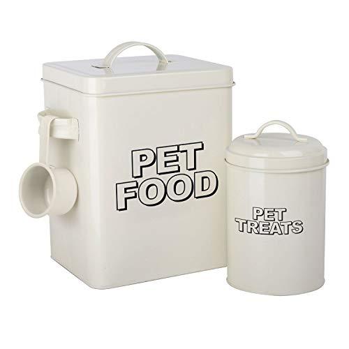 simpa Aufbewahrungsbehälter und Schaufel, Metall, Vintage-Stil, Retro-Stil, cremefarben, 2 Stück - Storage Food Pet Metall